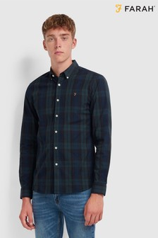 Farah Iconic Cotton Oxford Brewer Long Sleeved Shirt