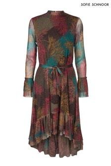 Metaliczna sukienka z nadrukiem piórek i asymetryucznym dołem Sofie Schnoor