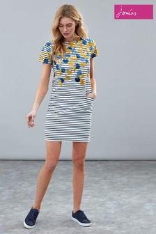Joules Blue Francis Print Square Neck Jersey Dress