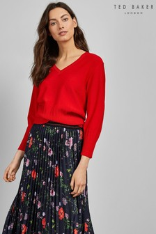 Ted Baker Red Rib Knit Jumper