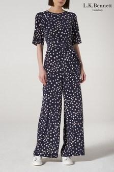 L.K.Bennett Navy Star Print Loren Silk Jumpsuit