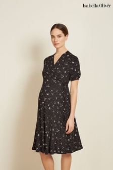 Isabella Oliver Black Evie Maternity Wrap Dress