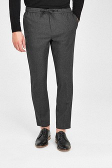 Micro Check Formal Drawstring Trousers