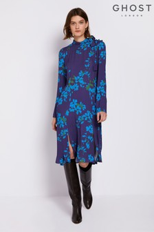 Ghost London Purple Demi Printed Crepe Dress