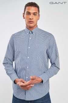 GANT Blue Tech Prep Twill Check Regular Shirt