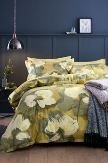 Cotton Sateen Botanical Floral Duvet Cover and Pillowcase Set