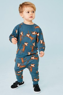 Tiger All Over Print Crew And Jogger Set (3mths-7yrs)
