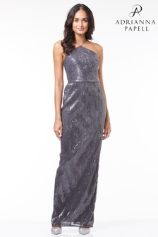 Adrianna Papell Metallic Pleated Sequin Dress