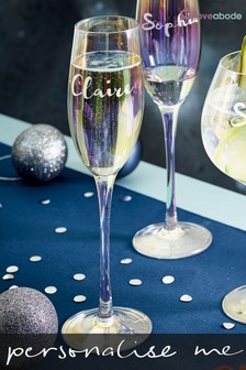 Personalised Iridescent Champagne Flute by Loveabode