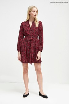 French Connection Dark Pink Aubine Fluid Short Shirt Dress