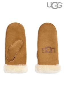UGG® Chestnut Sheepskin Logo Mittens