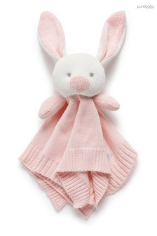 Purebaby Pink Knitted Bunny Comforter