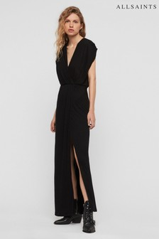 AllSaints Black Alwane Maxi Dress