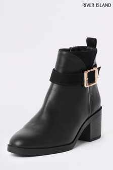 River Island Black Buckle Boot
