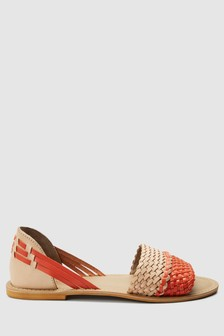 Woven Leather Peep Two Part Shoes