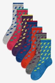 Lightening Bolt Socks Seven Pack (Older)