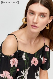 Warehouse Black Tiger Lily Cold Shoulder Top