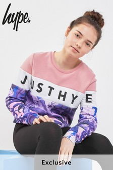 Hype. Pink/Floral Panel Sweat Top