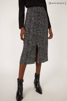 Warehouse Black Random Drop Midi Skirt