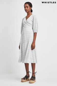 Whistles Catalina Check Wrap Dress