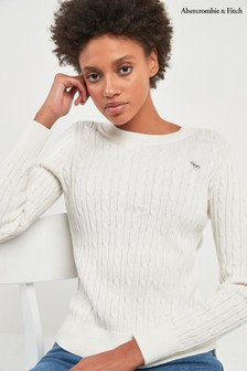 Abercrombie & Fitch Cream Cable Moose Sweater