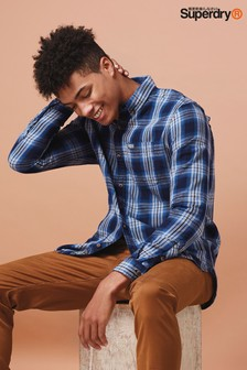 Superdry Blue Check Long Sleeve Shirt