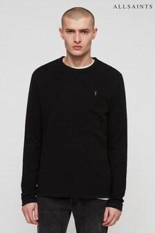 AllSaints Black Clash Textured Top