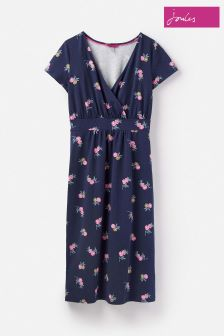 Joules Blue Jude Jersey Navy Chinoise Wrap Dress