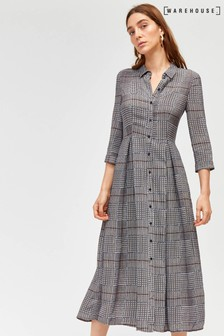 Warehouse Black Houndstooth Midi Shirt Dress