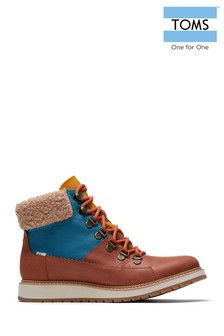 TOMS Tan Lace-Up Wedge Hiker Boots