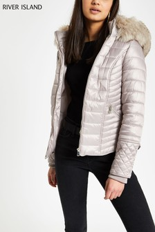 River Island Nude Padded Jacket