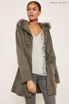 Mint Velvet Green Multistitch Cotton Parka