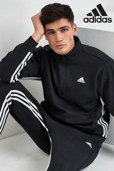 adidas Black Must Have 1/2 Zip 3 Stripe Top