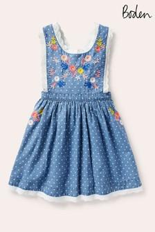 Boden Denim Embroidered Pinafore Dress
