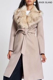 River Island Cream Faux Fur Trim Coat