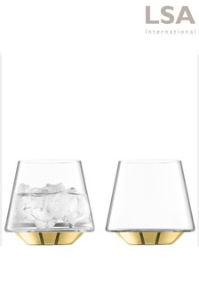 Set of 2 LSA International Space Gold Tumbler Glasses