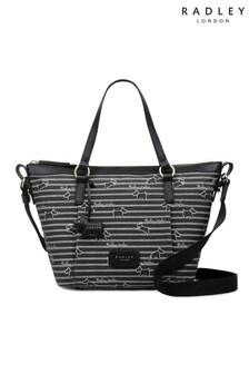 Radley London Stripe Oilskin Medium Zip Top Multiway Bag