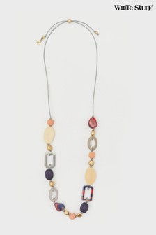 White Stuff Red Wood & Resin Mix Necklace