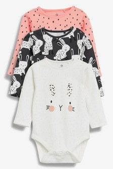 Bunny Character Long Sleeve Bodysuits Three Pack (0mths-2yrs)