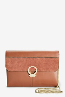 Leather Lock Front Clutch Bag