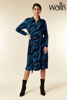Wallis Petite Blue Zebra Shirt Dress