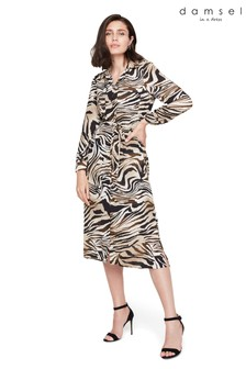 Damsel In A Dress Neutral Poppie Printed Shirt Dress