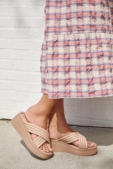 Leather Padded Cross Over Flatform Sandals