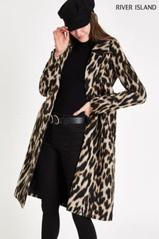 River Island Leopard Print Belted Coat