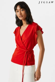 Jigsaw Red Wrap Jersey Tie Top