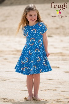 Frugi Organic Blue Rainbow Skater Dress