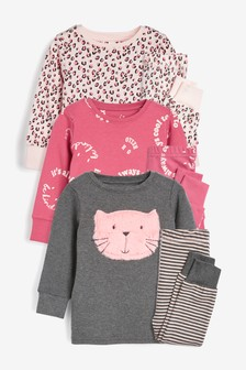 3 Pack Cat Snuggle Pyjamas (9mths-8yrs)
