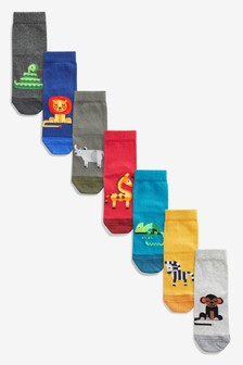 7 Pack Cotton Rich Animals Socks (Younger)