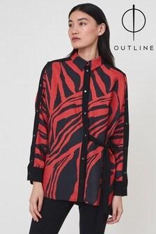Outline Red/Black Animal Print Crown Top