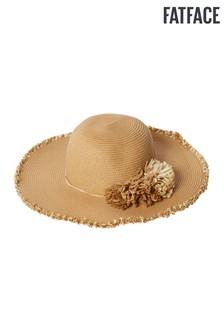 FatFace Natural Pom Pom Panama Straw Hat